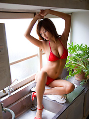 Voluptuous asian diva showing off her delicious body in lingerie
