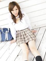 Tokyo schoolgirl Kana exposes her tight pussy