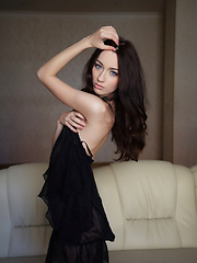 Zsanett Tormay gives a glimpse of her dual personality, from a sweet, girl-next-door vibe with the charming smile, to the daring, sultry vixen in a elegant sexy black dress.