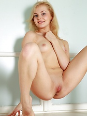 Blonde model with pale skin and pink fleshy bits.