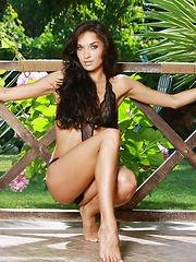 Cute skinny girl Olga demonstrates her perfect body