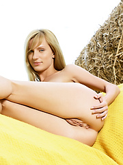 Giselle has long blonde hair and natural breasts but she loves to show her pussy the most.