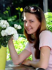 Dana solo posing in the garden