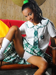 Rosalinda strips from the school uniform she wears to entice old perverts