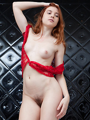 Orabelle's youthful allure stands out, with her pale smooth skin, fiery red hair, pink, perky boobs, and untrimmed bush.