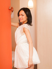 Delicate facial features, innocent gaze, and petite, nubile body, Bansari strips her cute white dress and poses sensually inside the bedroom.