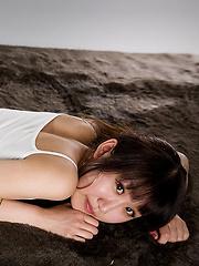 Oshima Karina posing in mini skirt