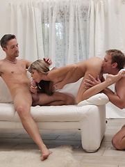 Super sexy Gina Gerson shows off her spinner moves as she pleasures two men with her tight bald pussy and eager mouth