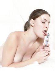 Amazing gal fucks her tight twat with toys