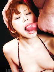 Miina Yoshihara Asian with hot ass has mouth filled with cum