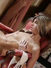 Doris is a dreamer, her cute young head is full of wet dreams and arousing fantasies. Her pussy is constantly hot and wet, her nipples hard with excitement. She dreams about handsome men and their aroused manhood, and her agile fingers sink deep into her