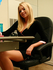 Cute teen Skye shows off her tight perfect ass in a tiny thong in the office