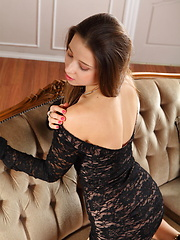 Taissia A slides off her lace dress to flaunt her body