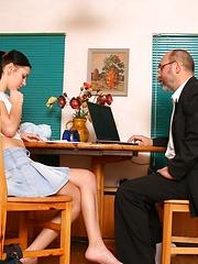 Voluptuous brunette coed satisfies her teacher