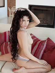 Valeria is a pro in the art of   eroticism and seduction as she takes   off her diaphenous blouse and   shamelessly stroke and caress her   perfectly aroused body on the living   room\'s sofa.
