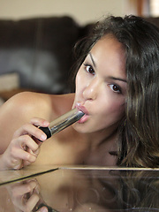 Naughty coed fucks her cock starved twat with a vibrator