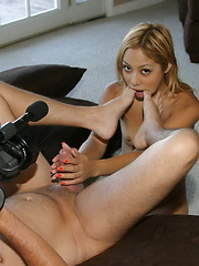 Kat is filmed treating a hard cock in her mouth, pussy and ass