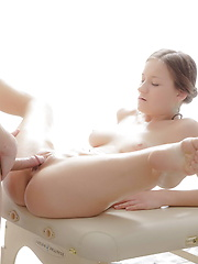 Gorgeous teenage cutie seduced by her well hung masseur