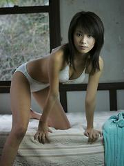 Yuka Kosaka Asian takes blue dress off revealing leering curves