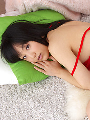 Yuri Hamada Asian with big assets in red lingerie is leering doll