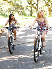 Three sexy girls ride bikes in the park naked watch nice ass and boobs get sucked and fucked