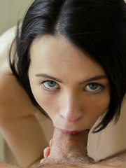 Hot and horny brunette is eager to please with her tight pussy