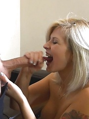 Gorgeous blonde Sara sucking and riding cock in exchange of her new clothes