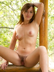 Era shows off her hairy pussy outside in heels