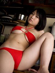 Rui Kiriyama Asian shows very hot bum and very big tits in red